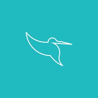 Hummingbird line art simple minimalist logo design inspiration vector illustration