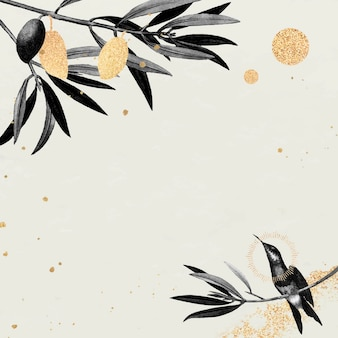Hummingbird pattern on a beige background