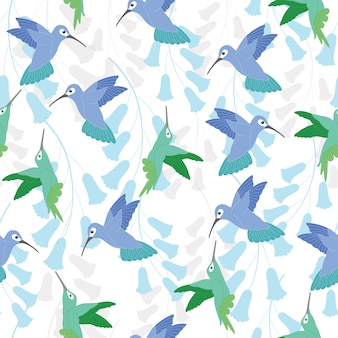 Hummingbird seamless pattern