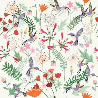 Hummingbird in sweet flower garden seamless pattern.