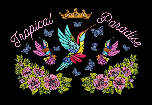 Hummingbirds butterflies crown roses embroidery patch fashion tropical paradise.  hand drawn  illustration