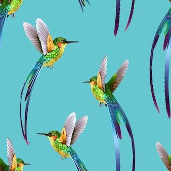 Красивый бесшовный тропический экзотический фон из джунглей hummingbirds