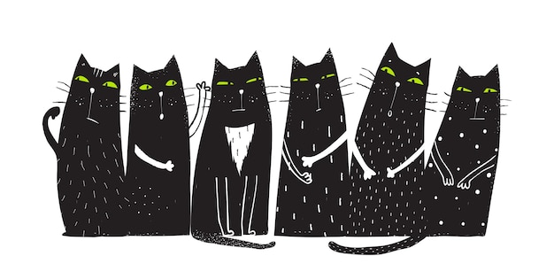 Humorous domestic cats design for t shirt prints and other projects vector hand drawn cartoon