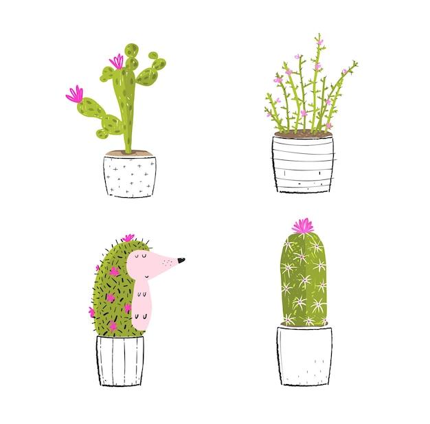 Юмористическая коллекция ежа и кактусов iaolated клипарт для забавного векторного дизайна футболки