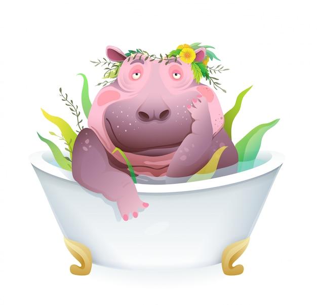 Humorous pet grooming cartoon with cute and funny female hippopotamus taking herbal bath. fatty hippo in the bath tub, body positive animal fun cartoon. artistic 3d realistic design.