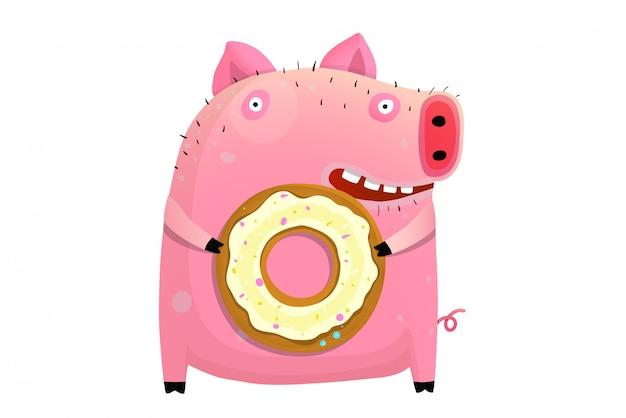 ユーモラスな豚持株ドーナツ