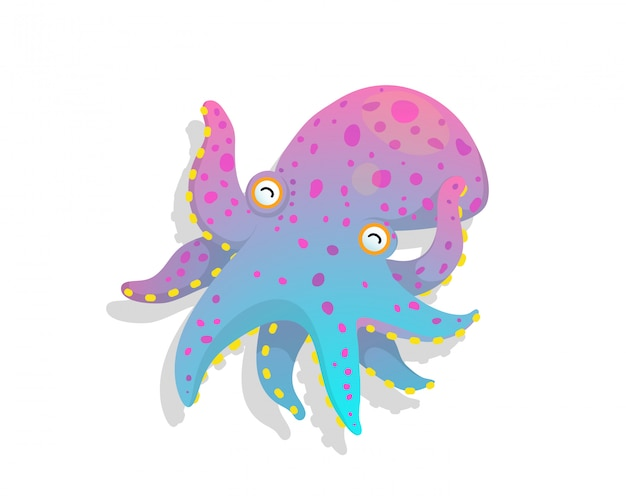 Humour and naive picture of childlike fun octopus underwater animal vector watercolour style drawing.