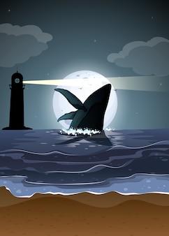 Горбатый кит в силуэт сцены природы