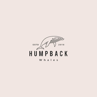 Humpback whale logo hipster vintage retro