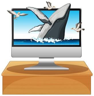 Горбатый кит на фоне компьютера