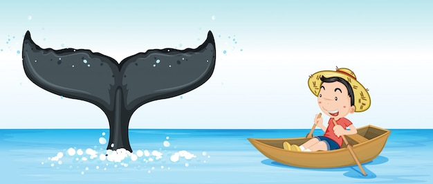바다에서 향유 고래 꼬리