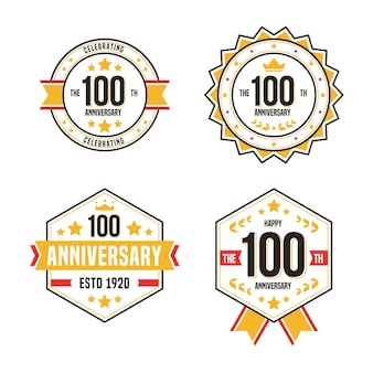 Hundred anniversary labels pack