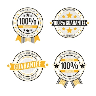 Hundred percent guarantee badges set