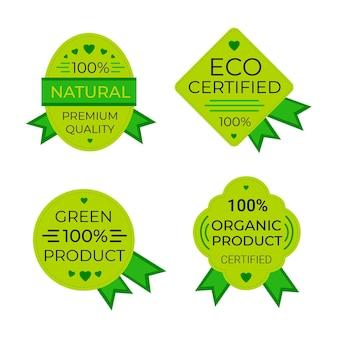 Collezione di badge naturali al cento per cento