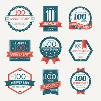 Hundred years anniversary labels collection