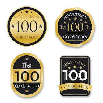 Hundred years anniversary labels pack