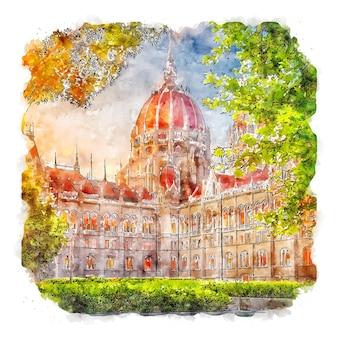 헝가리 의회 부다페스트 수채화 스케치 손으로 그린 그림