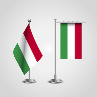 Hungary country flag on pole