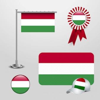 Hungary country flag set