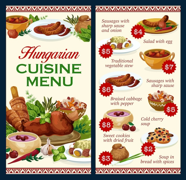 Hungary cuisine menu template, sausages with spicy sauce and onion