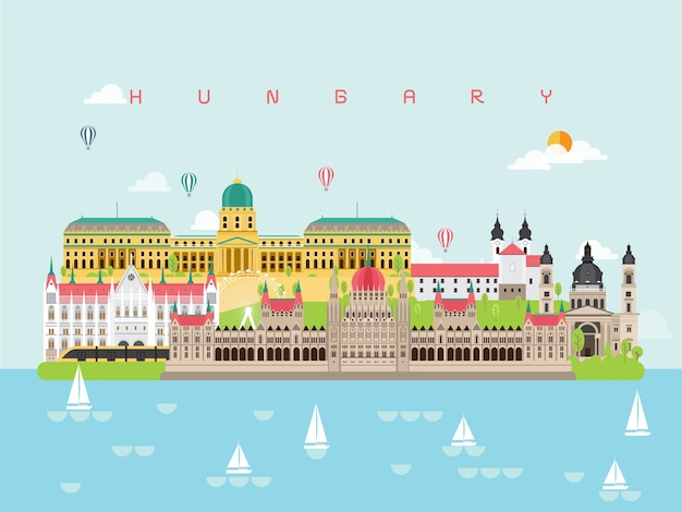 Hungary famous landmarks infographic