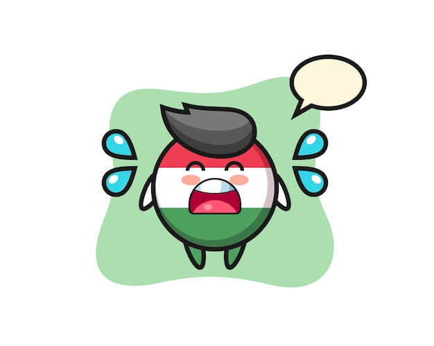 Hungary flag badge cartoon illustration with crying gesture , cute style design for t shirt, sticker, logo element