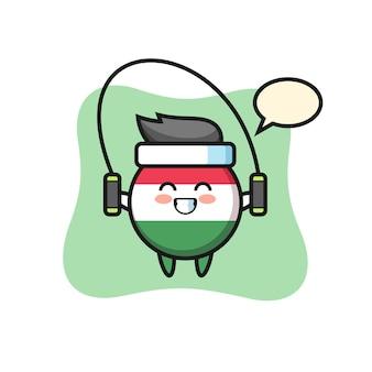 밧줄을 건너뛰는 헝가리 국기 배지 캐릭터 만화, 티셔츠, 스티커, 로고 요소를 위한 귀여운 스타일 디자인