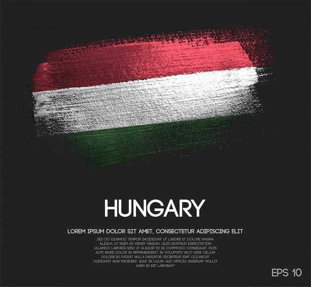 Hungary flag made of glitter sparkle brush paint
