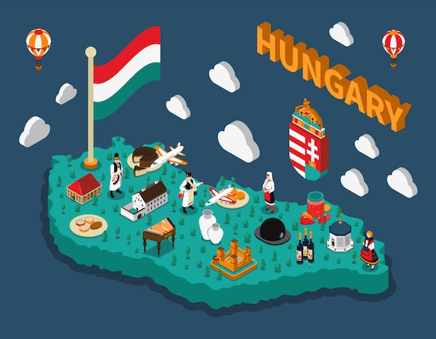 Hungary isometric touristic map