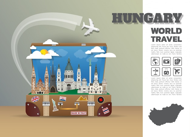 Hungary landmark global travel and journey infographic luggage.3d design