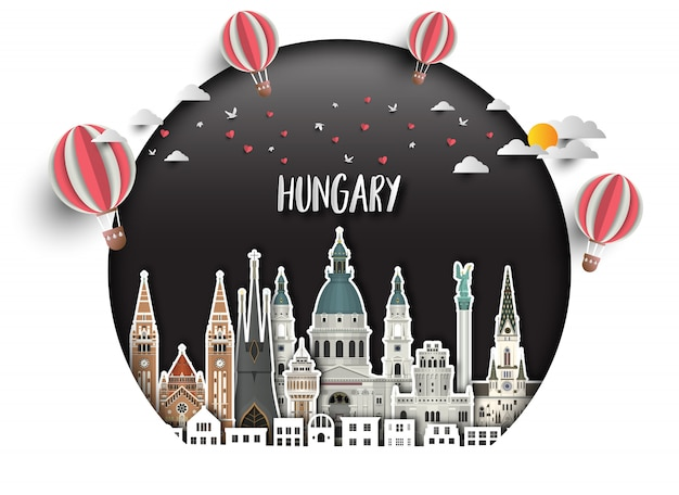 Hungary landmark global travel and journey paper background.