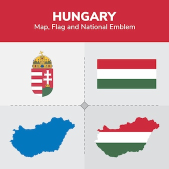 Hungary map, flag and national emblem