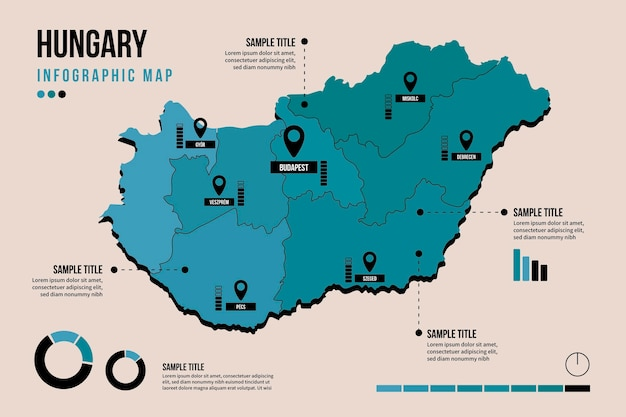 Венгрия карта инфографики в плоском дизайне