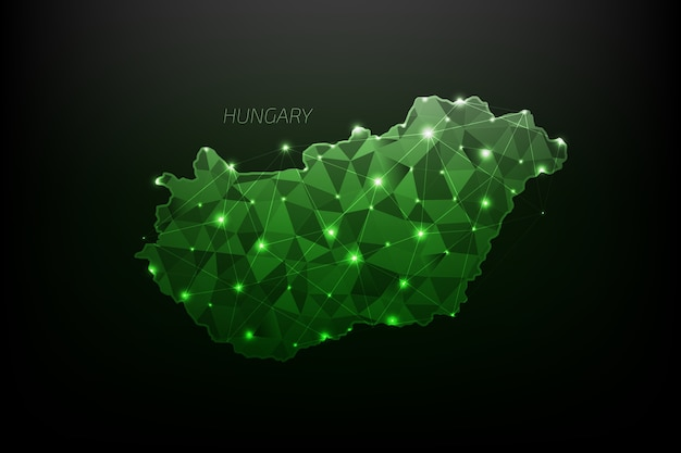 Hungary map polygonal with glowing lights and line