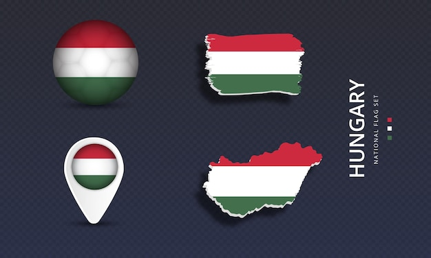 Hungary national country wave flag set