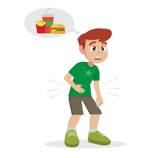 食べ物について物事を空腹の少年