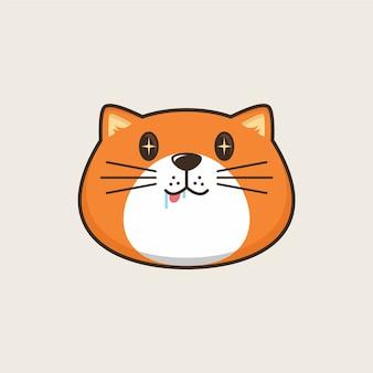 배고픈 고양이 머리 만화 로고 일러스트