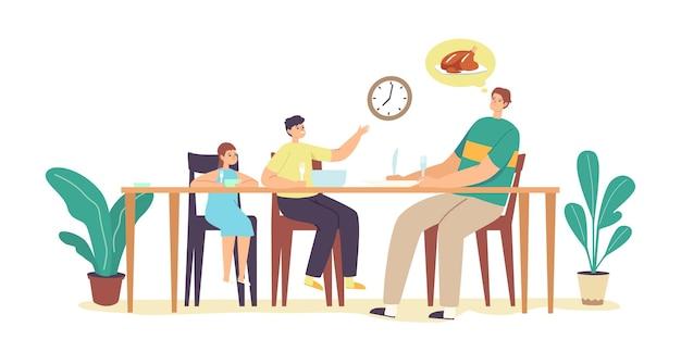 배고픈 가족 대기 저녁 식사. 젊은 아버지, 작은 딸과 아들 캐릭터가 손과 접시에 포크를 들고 부엌에 있는 테이블 주위에 앉아 있습니다.