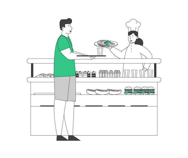 Голодный мужской персонаж принимает еду на столе