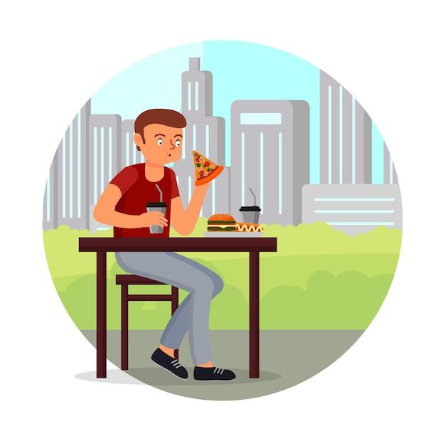 ピザホットドッグハンバーガーフラットを食べる空腹の男