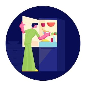 잠옷을 입고 배고픈 남자는 밤에 오픈 냉장고에 서서 먹을 것입니다. 만화 평면 그림
