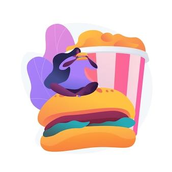 햄버거를 먹는 배고픈 여자. 패스트 푸드 중독, 과식, 고 칼로리 식사. 엄청난 식욕, 과식 및 폭식을 가진 소녀.