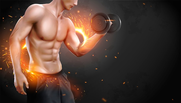 Hunky man doing weight lifting exercises with sparks effect in 3d illustration