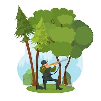 Охотник целится из винтовки в лес.