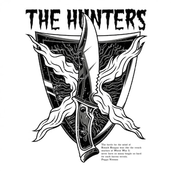 The hunter black and white