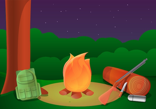Hunter campfire illustration, cartoon style