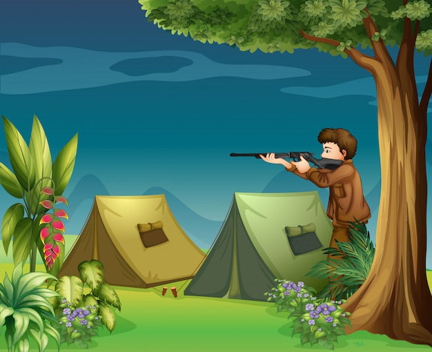 A hunter in a campsite