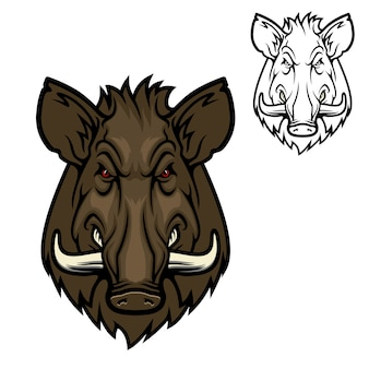ハンタークラブのマスコットアイコン、イノシシの豚の動物