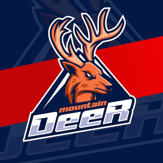 ハンターのロゴのアイデアのためのハンター鹿の頭のマスコットキャラクターのロゴデザイン