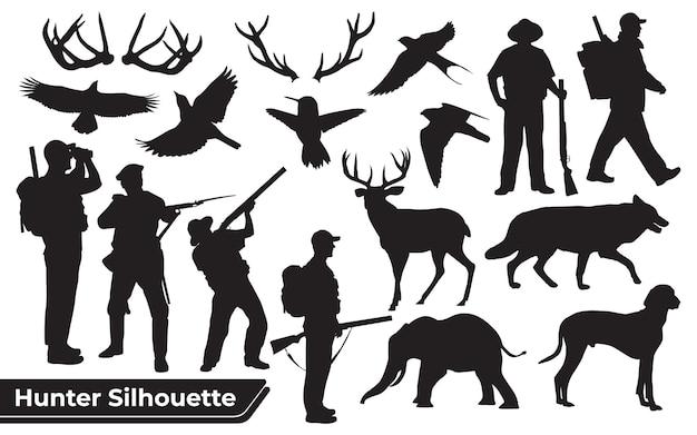 사냥꾼 숲 동물 실루엣